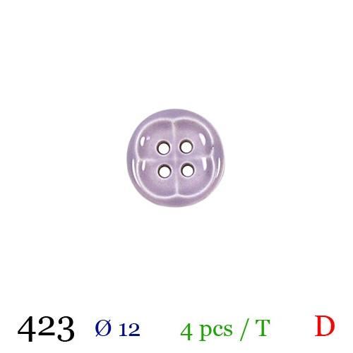 Bouton parme rond 4 trous 12mm