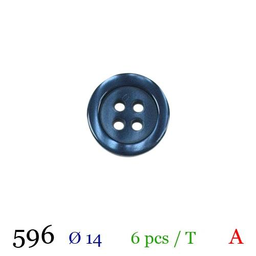 Bouton bleu marine rond 4 trous 14mm