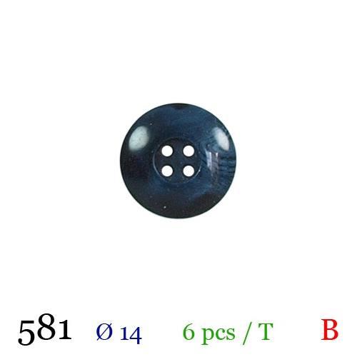 Bouton bleu aspect marbre rond 4 trous 14mm