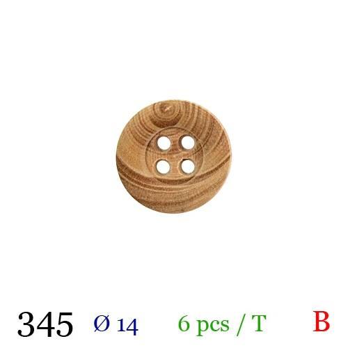 Bouton bois clair rond 4 trous 14mm