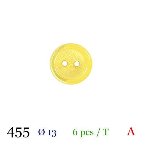Bouton jaune rond 2 trous 12mm
