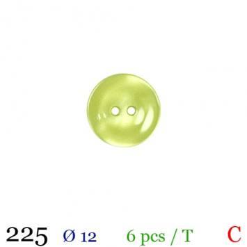 Bouton jaune citron rond 2 trous 12mm