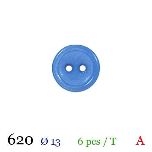 Bouton bleu rond 2 trous 13mm