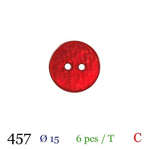 Bouton nacré rouge rond 2 trous 15mm