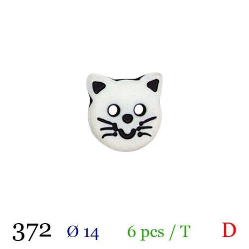 Bouton blanc chaton rond 2 trous 14mm