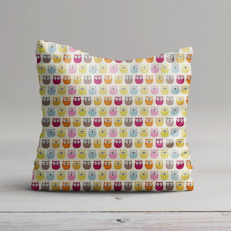 Coton écru imprimé hibou multicolore