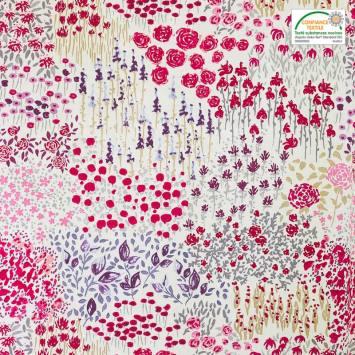 Coton blanc imprimé aquarelle violet et rouge