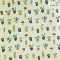 Coton écru motif cactus