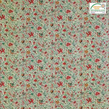 Coton blanc imprimé liberty vert et rouge