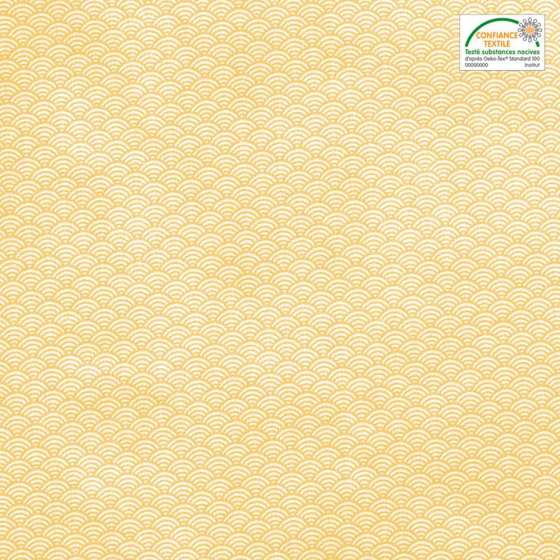 Coton blanc imprimé seigaiha jaune