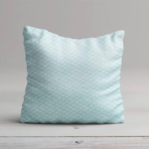 Coton blanc imprimé seigaiha turquoise