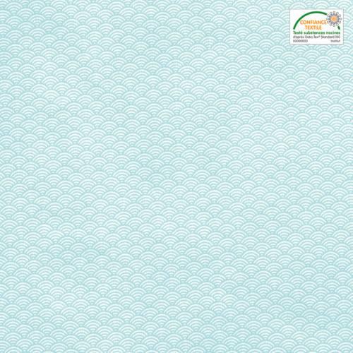 Coton blanc imprimé seigaiha bleu ciel