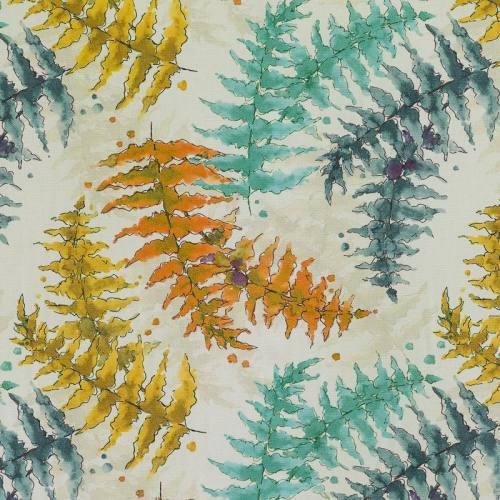 Coton impression numérique bleu et orange motif fougère aquarelle