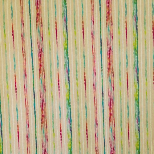 Coton impression numérique beige rayé aquarelle multicolore