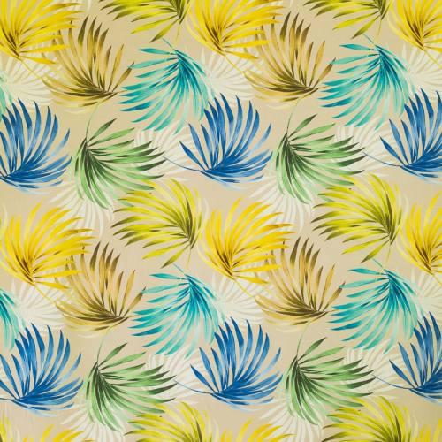 Coton impression numérique jungle vert et jaune