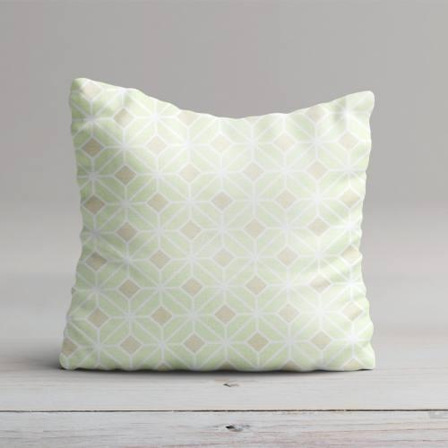 Coton impression numérique vert pastel motif géométrique