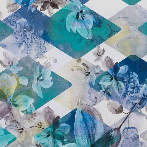 Coton impression numérique blanc motif losanges et fleurs blanches et bleues