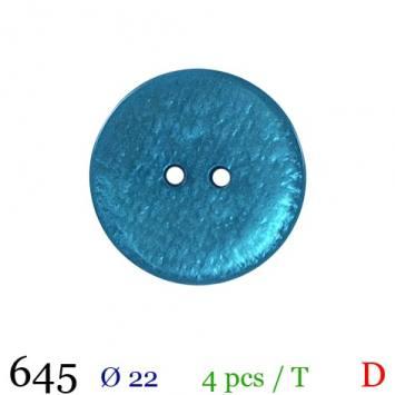 Bouton bleu canard rond 2 trous 22mm
