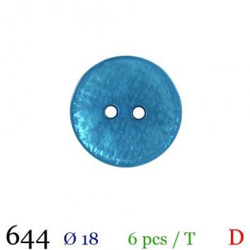 Bouton turquoise nacré rond 2 trous 18mm
