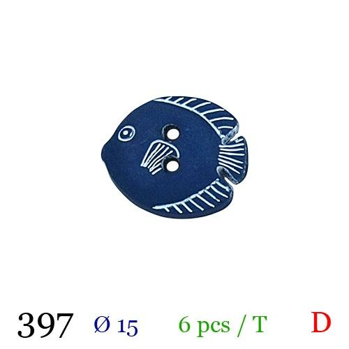 Bouton bleu motif poisson 2 trous 15mm