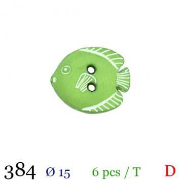 Bouton vert pomme motif poisson 2 trous 15mm