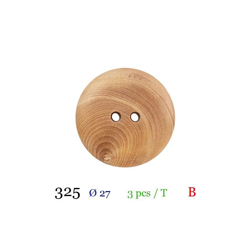Bouton bois spirale rond 2 trous 27mm