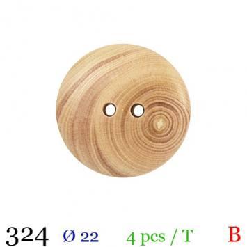 Bouton bois spirale rond 2 trous 22mm