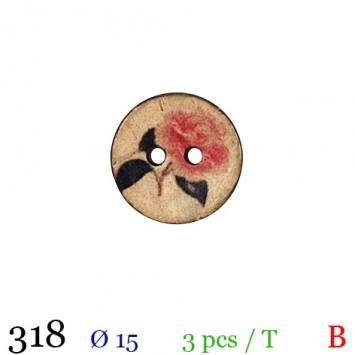 Bouton bois rond motif rose 2 trous 15mm