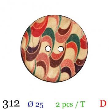 Bouton bois rond motif zig zag 2 trous 25mm