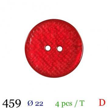 Bouton nacré rouge rond 2 trous 22mm