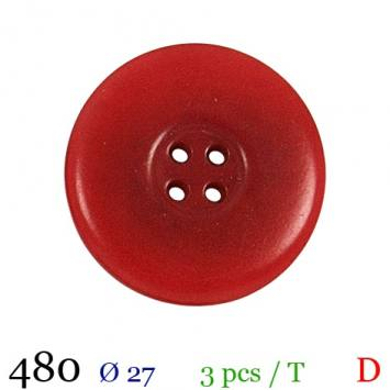 Bouton rouge mate rond 4 trous 27mm