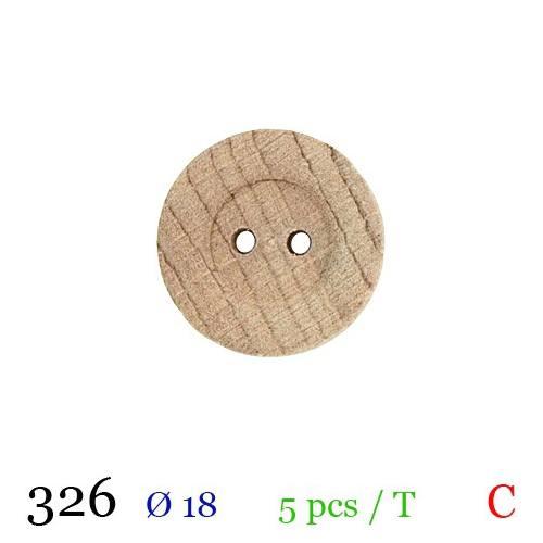 Bouton bois rayé rond 2 trous 18mm