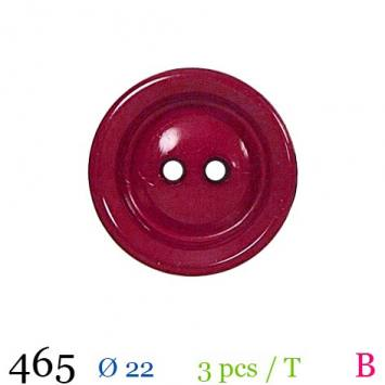 Bouton cerise mate rond 2 trous 22mm