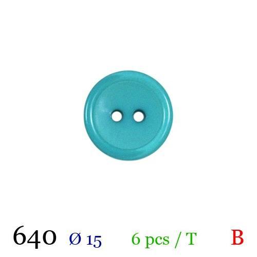 Bouton bleu océan nacré rond 2 trous 15mm