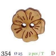 Bouton bois motif trèfle 2 trous 25mm