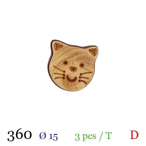 Bouton bois motif chaton à queue 15mm
