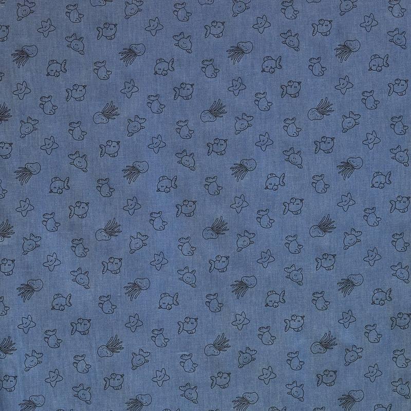 Tissu jean chambray à motif animaux de la mer