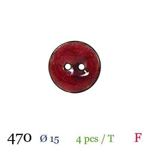Bouton rouge laqué rond 2 trous 15mm