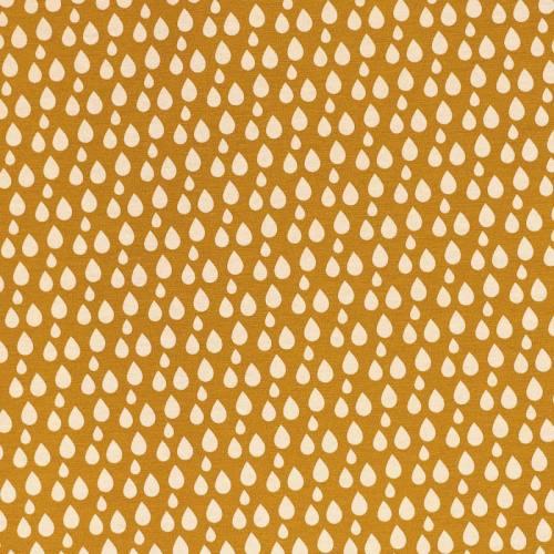 Toile polycoton ocre à motif goutte d'eau