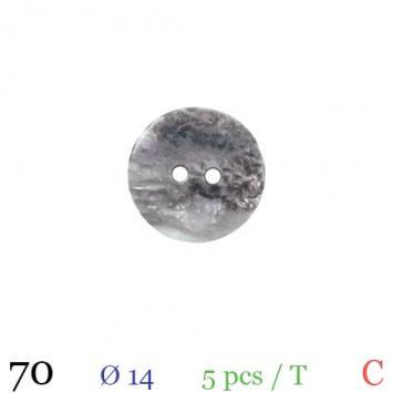 Bouton nacré gris rond 2 trous 14mm
