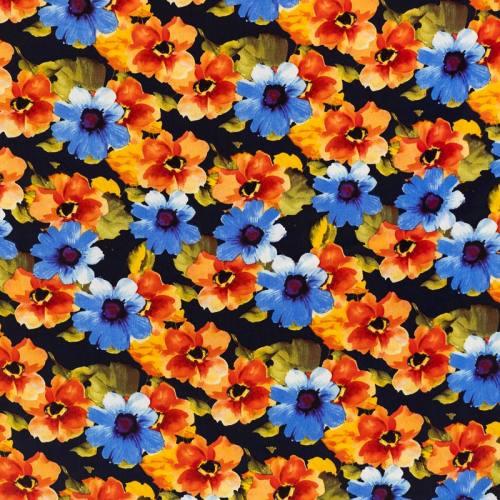 Tissu microfibre bleu marine imprimé fleur orange et bleue