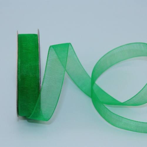 Ruban organdi en bobine vert 12 mm