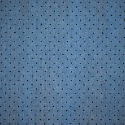 Tissu jean chambray à motif petites étoiles