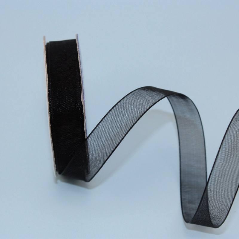 Ruban organdi en bobine noir 12 mm