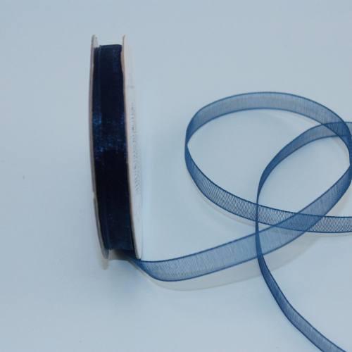 Ruban organdi en bobine bleu marin 6 mm