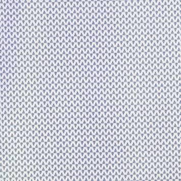 Coton blanc imprimé triangle ethnique bleu marine