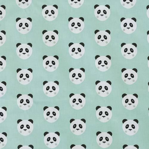 Coton vert d'eau imprimé panda maotey