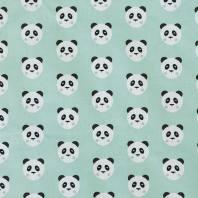 Coton vert d'eau imprimé panda
