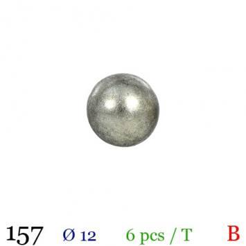 Bouton gris métal rond à queue 12mm