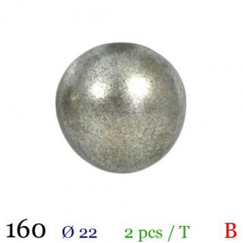 Bouton gris métal rond à queue 22mm